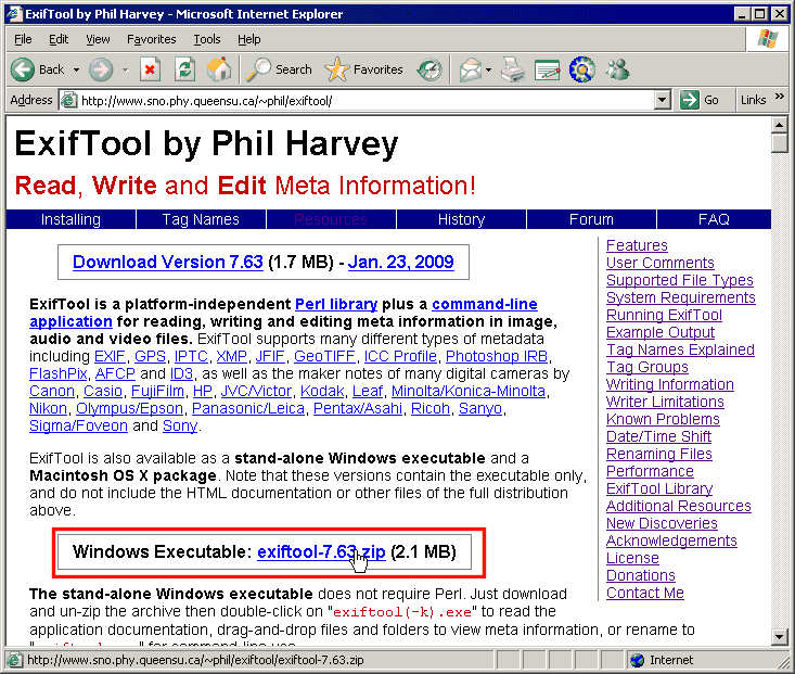 Exiftool Examples